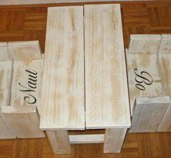 steigerhouten tafel met stoeltje naam whitewash