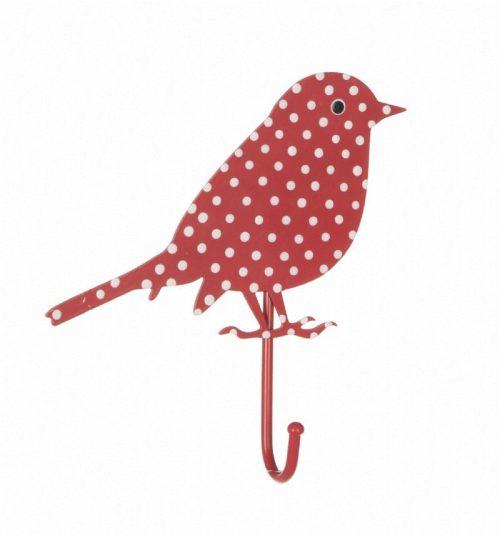 Bird haakje rood witte polkadot
