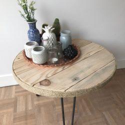 ronde tafel hout met stalen poten I
